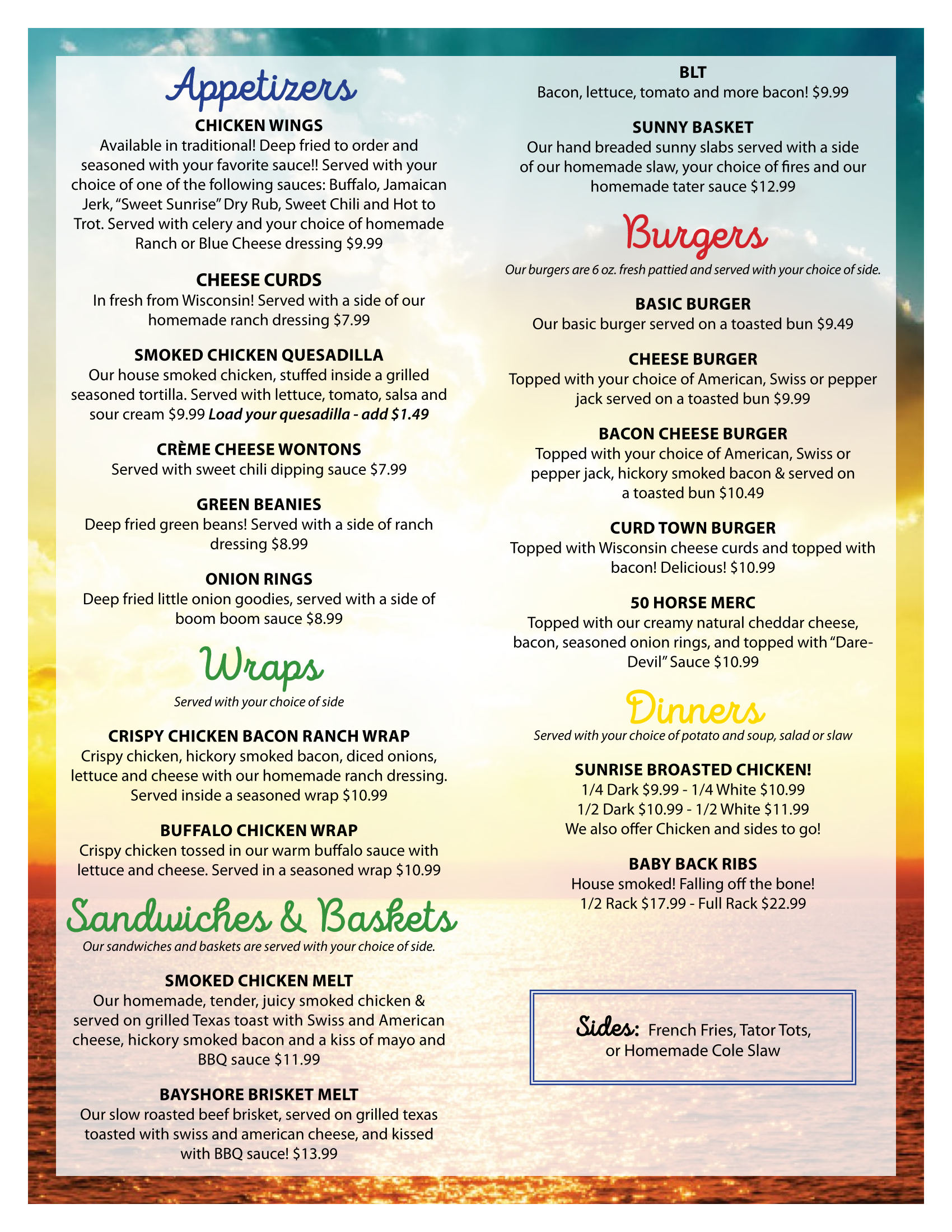 Sunrise on Englund Shores Menu
