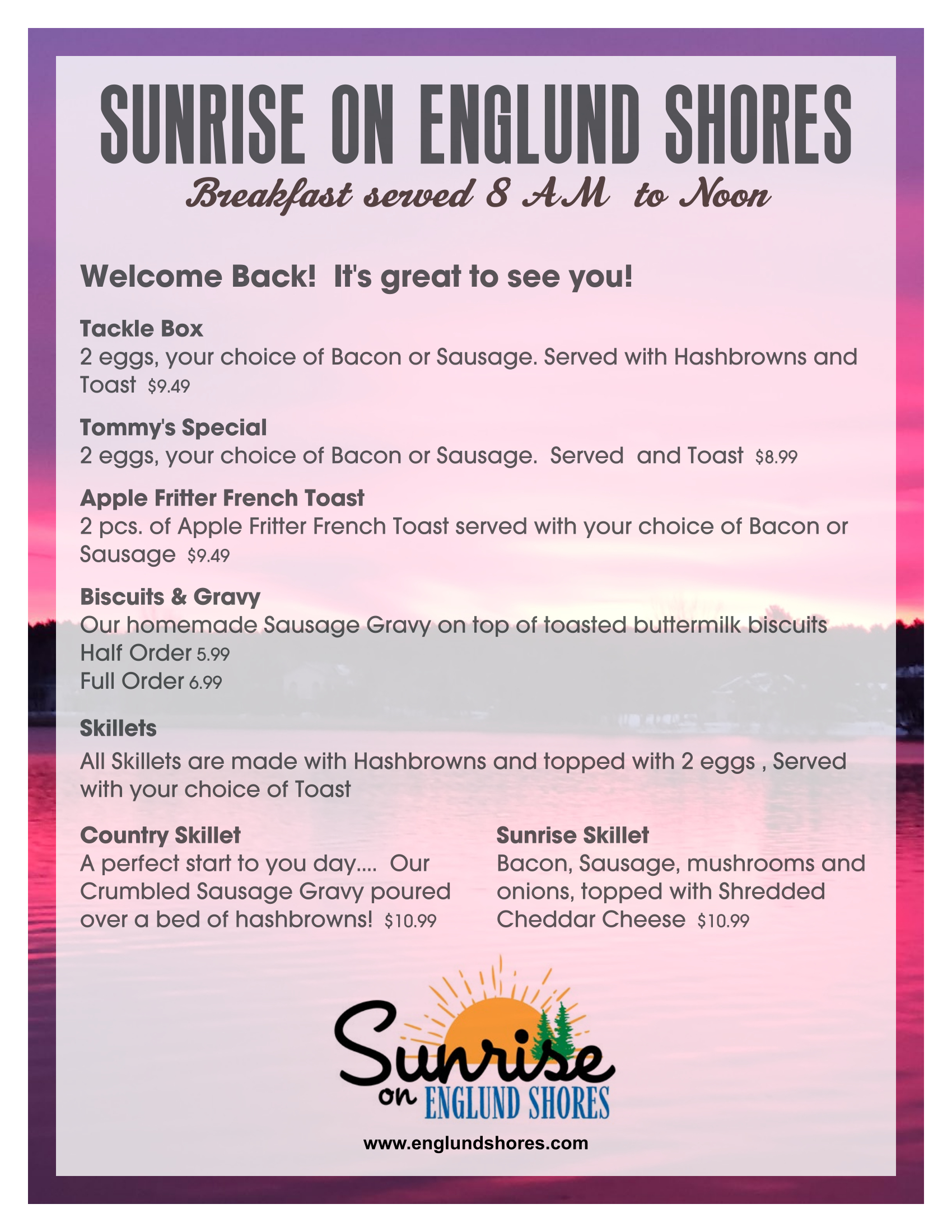 Sunrise on Englund Shores Breakfast Menu